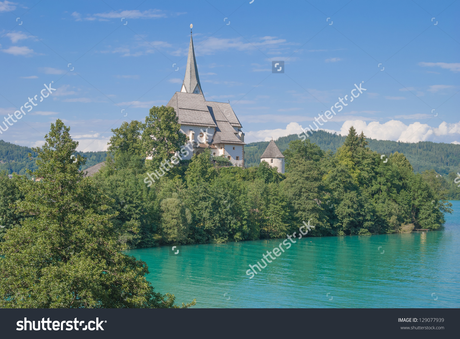 Church Of Maria Woerth At Lake Woerthersee In Carinthia,Austria.