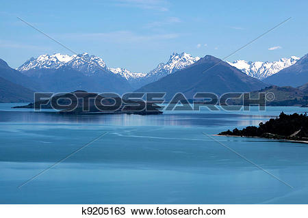 Stock Photo of Mountain range and Lake Wakatipu between Queentown.