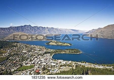 Stock Image of Lake Wakatipu on Queenstown, New Zealand 1831235.