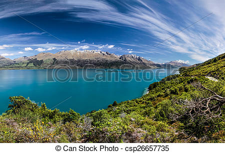 Stock Photos of Lake Wakatipu between Queentown and Glenorchy.