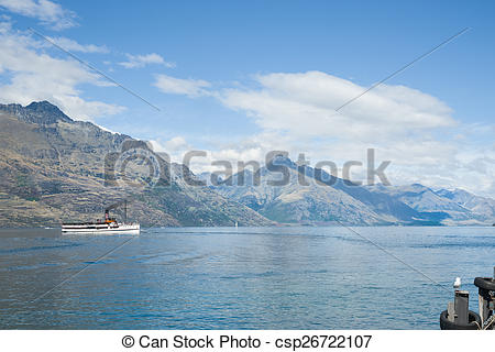 Stock Photography of Queenstown on shores of Lake Wakatipu.
