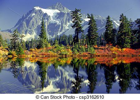Stock Photography of mirror lake.