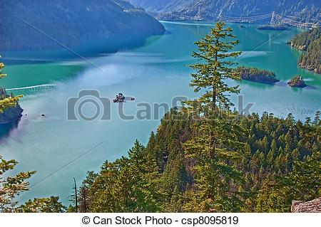 Stock Photographs of Landscape of Mountain Lake.
