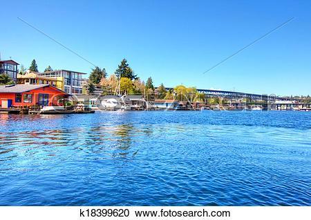 Stock Photography of Lake Washington. Boat houses k18399620.