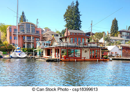 Stock Photography of Brick boat house. Lake Washington.