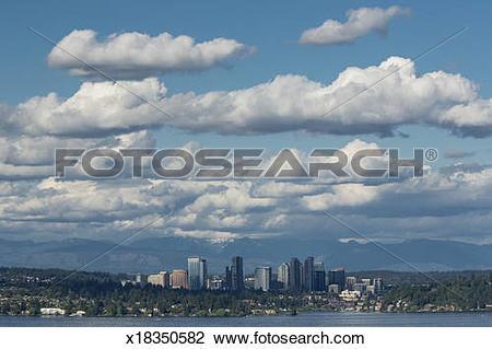 Stock Photo of Bellevue Skyline over Lake Washington x18350582.