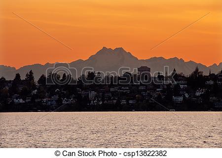 Pictures of Lake Washington Mount Olympus Seattle Sunset from.