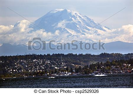 Stock Image of Mount Rainier from Lake washington Seattle.