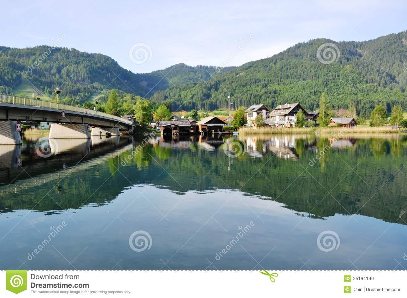 Lake Weissensee With Bridge, Austria Stock Photo.