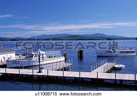 Stock Image of New Hampshire, Weirs Beach, NH, Excursion boat.