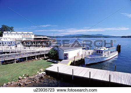 Stock Photo of NH, Weirs Beach, New Hampshire, Boardwalk, M.S. Mt.