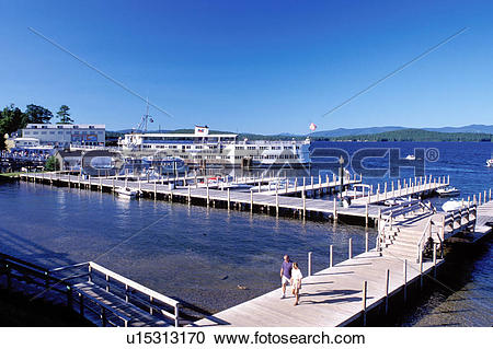 Stock Photography of NH, Weirs Beach, New Hampshire, boardwalk.
