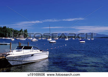 Stock Images of New Hampshire, Glendale, NH, Boats buoyed at a.