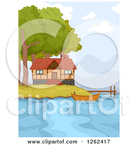 Clipart of a Lake Front Cabin with a Boat and Dock.