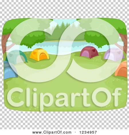Clipart of a Lakefront Camp Site with Tents in a Ring.
