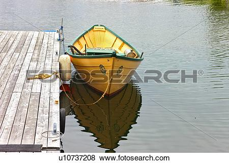 Pictures of Wooden dory on Baddeck waterfront, Bras D'or Lakes.