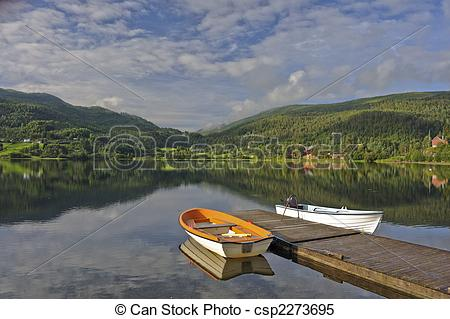 Stock Images of Norwegian Lakescape.