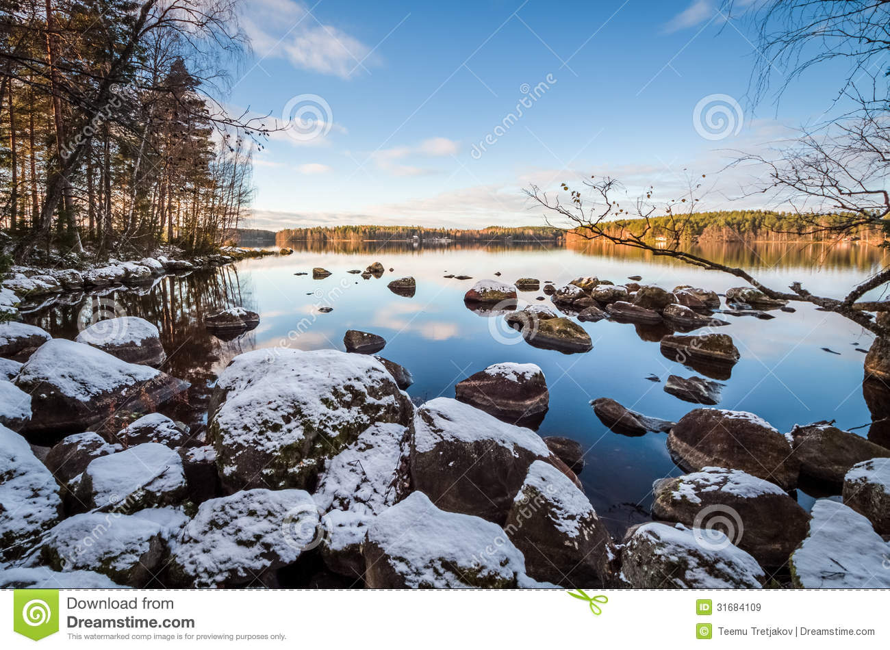 Lakescape With First Snow Royalty Free Stock Images.