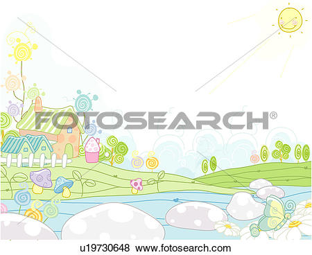 Stock Illustration of riverside, house, lake, river, fence.