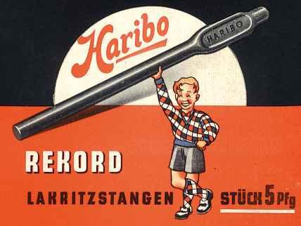 Haribo Rekord Lakritzstangen. Stück 5 Pfg. Germany.
