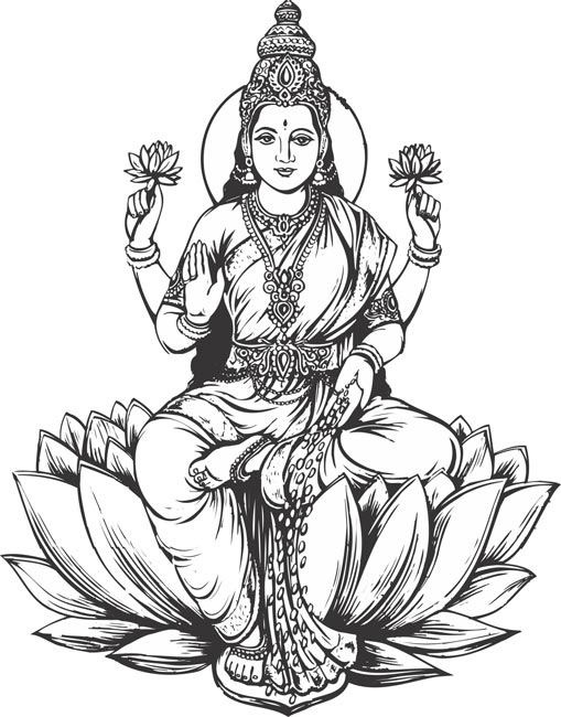 Standing laxmi clipart.