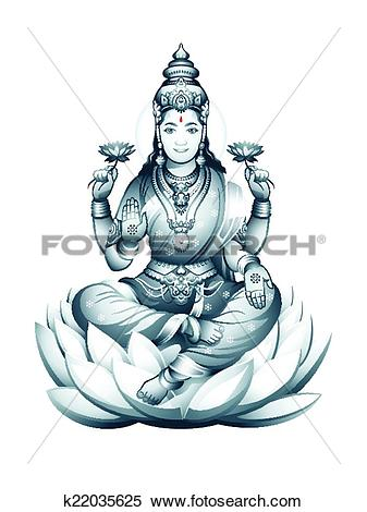 Clipart of Indian Goddess Lakshmi k22035625.