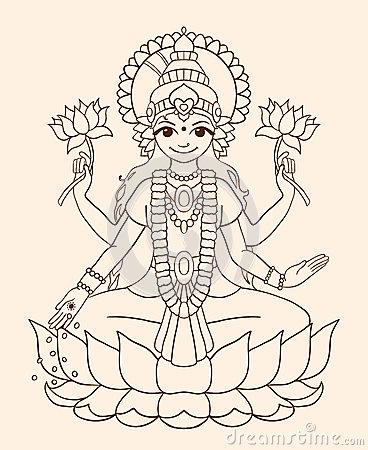Goddess Lakshmi Stock Illustrations.