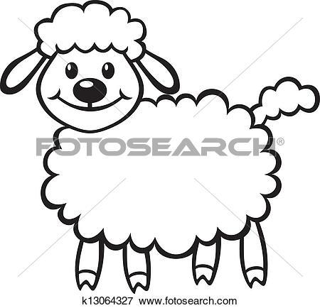 Clip Art of Cute Cartoon Lamb Easter Clip Art k1396939.