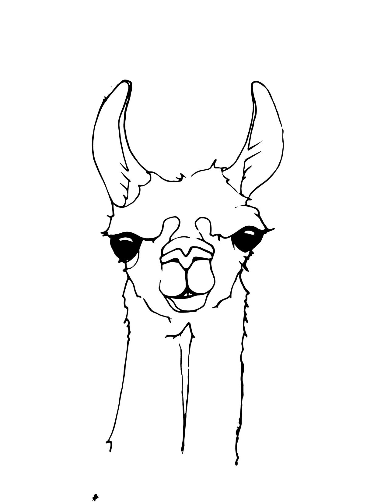 Llama Clipart Black And White Lama head clipart - Cl...