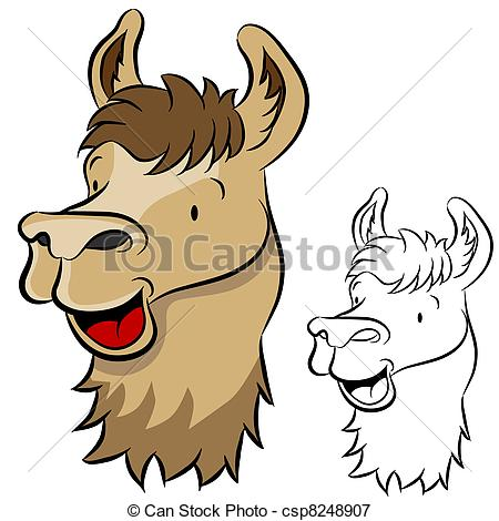 Vectors Illustration of Llama Face.