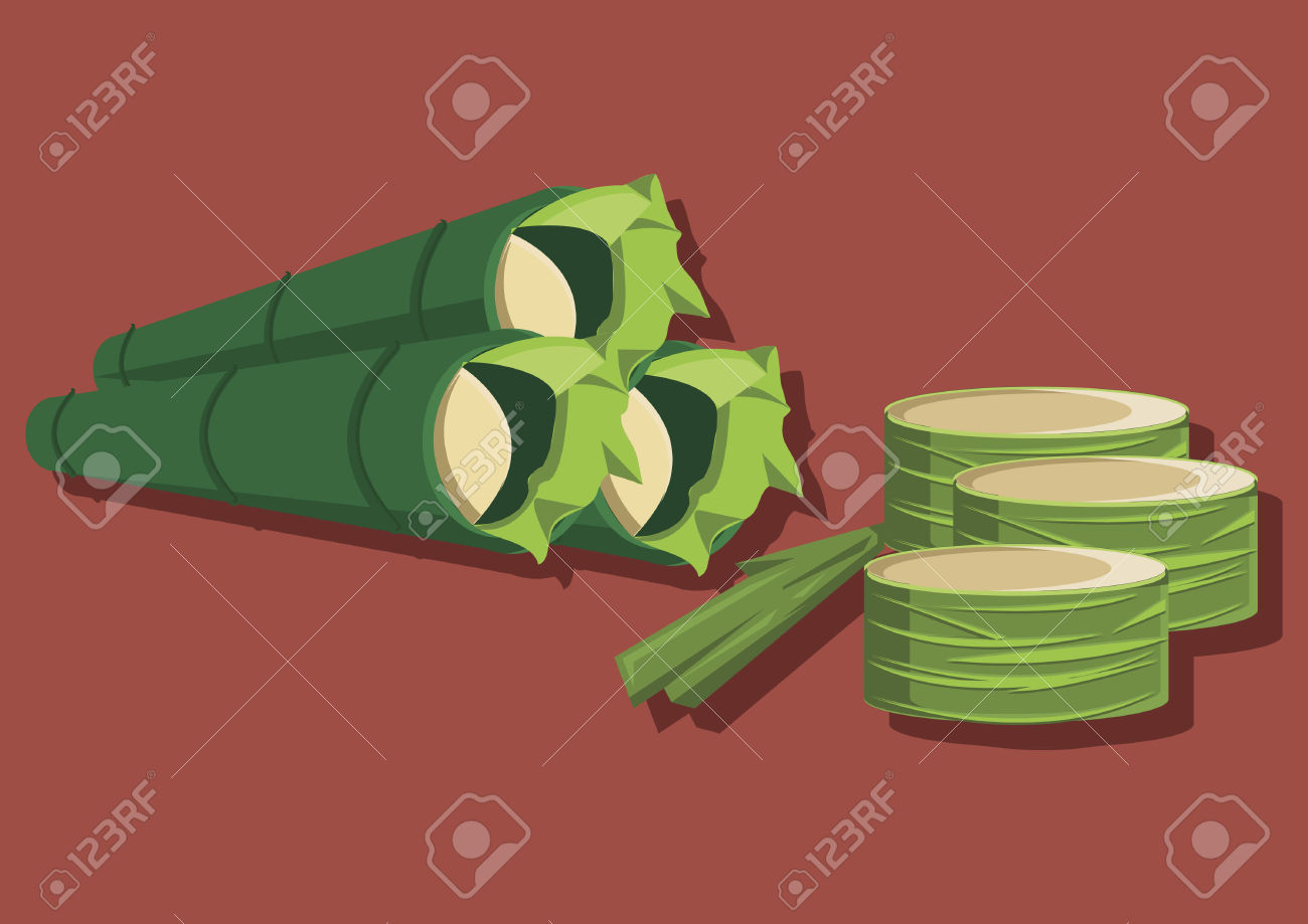 Vector Of Traditional Food Lemang Royalty Free Cliparts, Vectors.