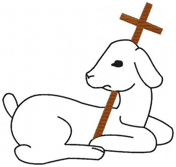 Lamb Black Outline with Brown Cross Christian Machine.