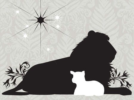 Silhouettes of a lion and lamb with a bright star in the sky.