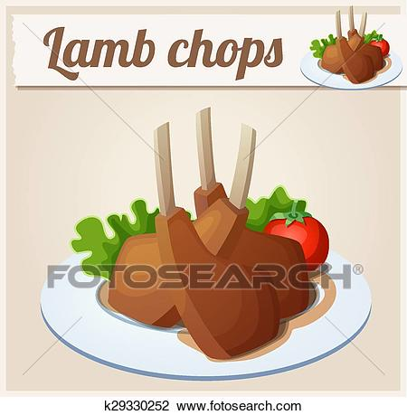 Lamb chops. Detailed Vector Icon Clipart.