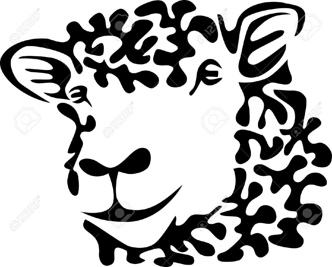 lamb head clipart outline