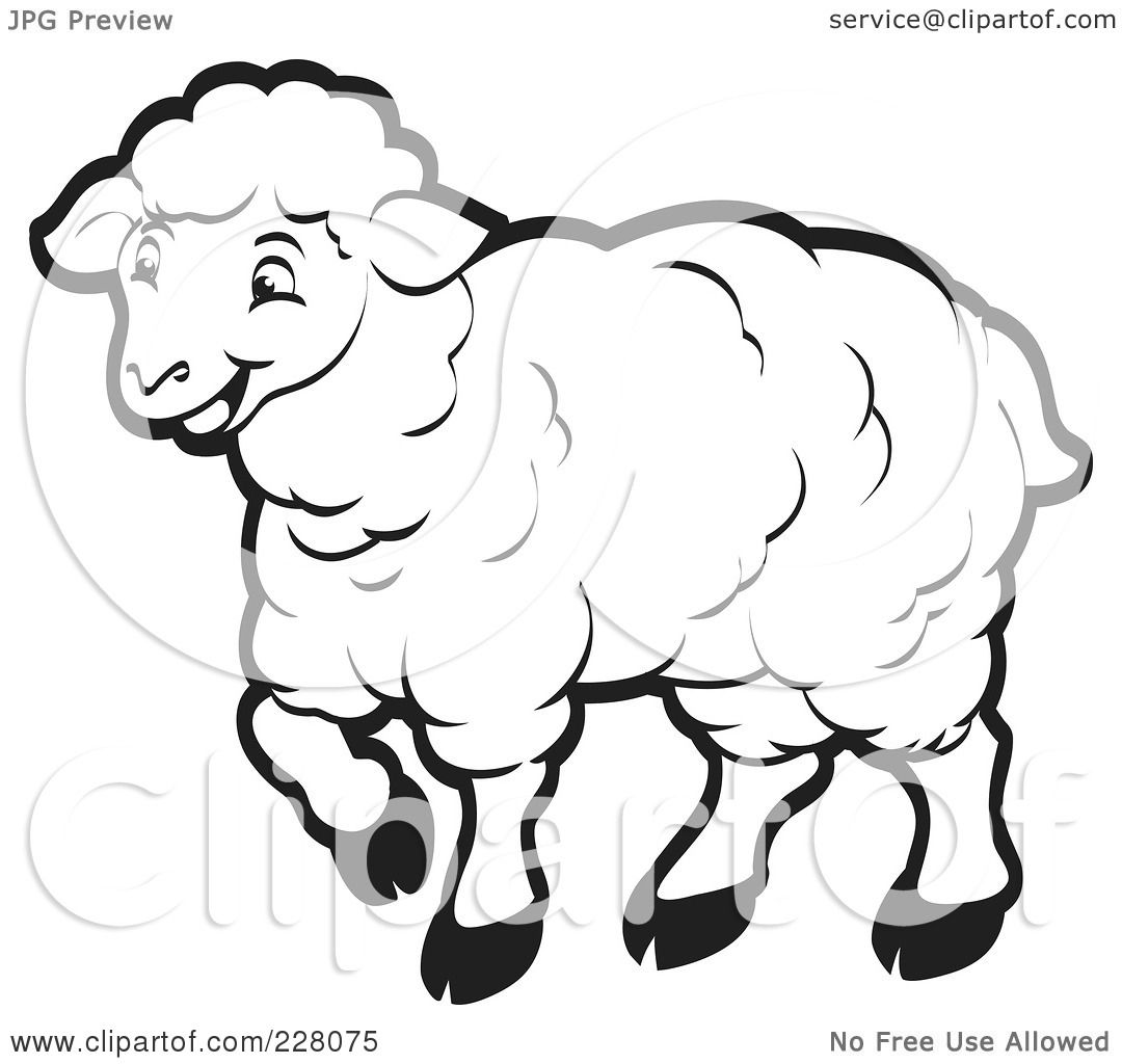 Royalty Free RF Clipart Illustration Of A Coloring Page Outline Happy Sheep By Lal Perera