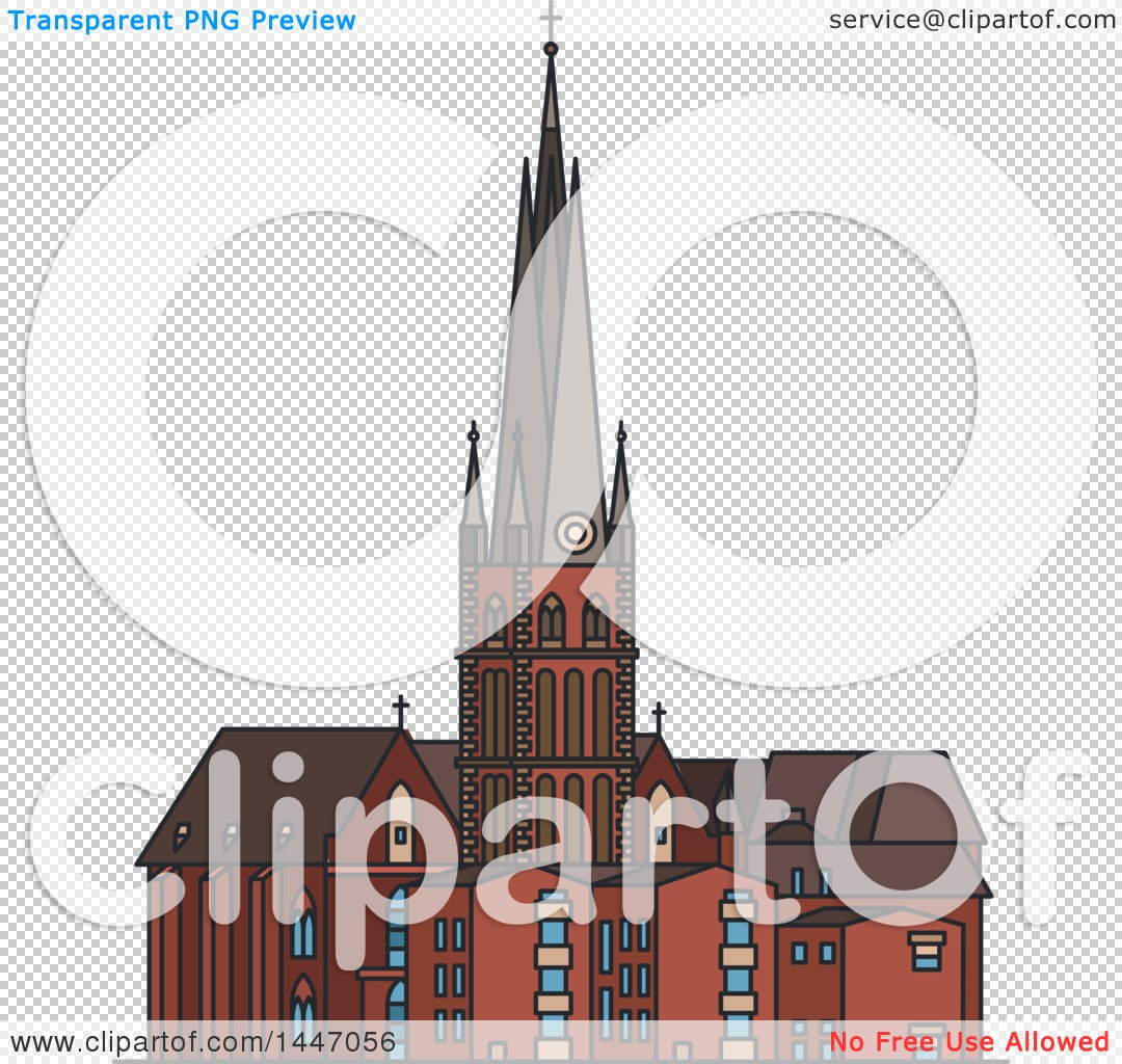 Clipart of a Line Drawing Styled German Landmark, St Lambert.