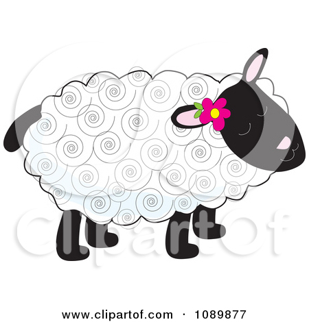 Clipart Curly Haired Lamb With A Flower Tucked Behind An Ear.