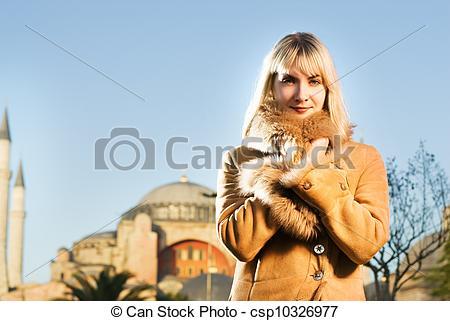 Picture of Beautiful blond girl in lambskin coat (Turkey, Istanbul.