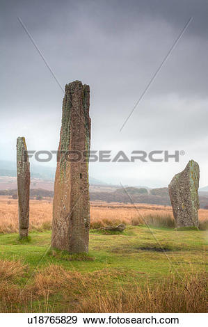 Stock Photograph of Scotland, North Ayrshire, Arran. A stone.