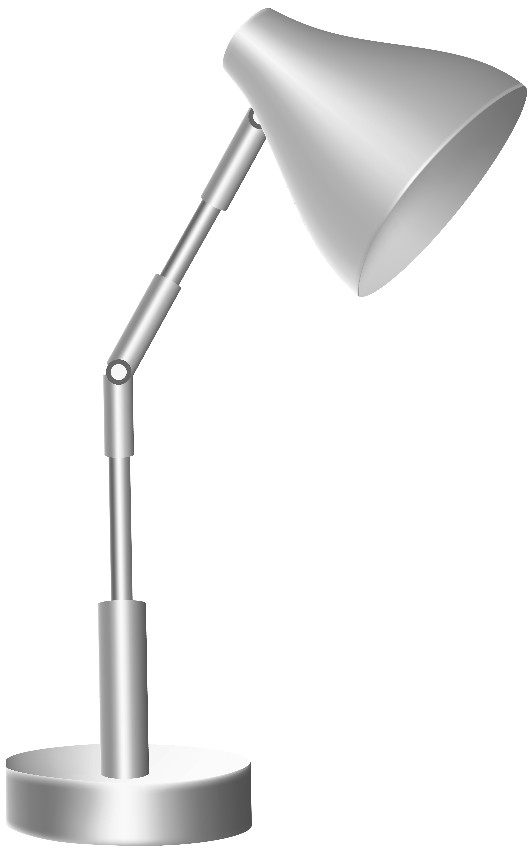 Silver Desk Lamp PNG Clip Art.