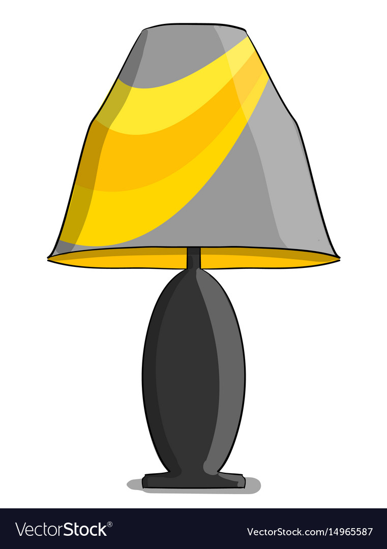 Table lamp in yellow and gray colours stands on a.