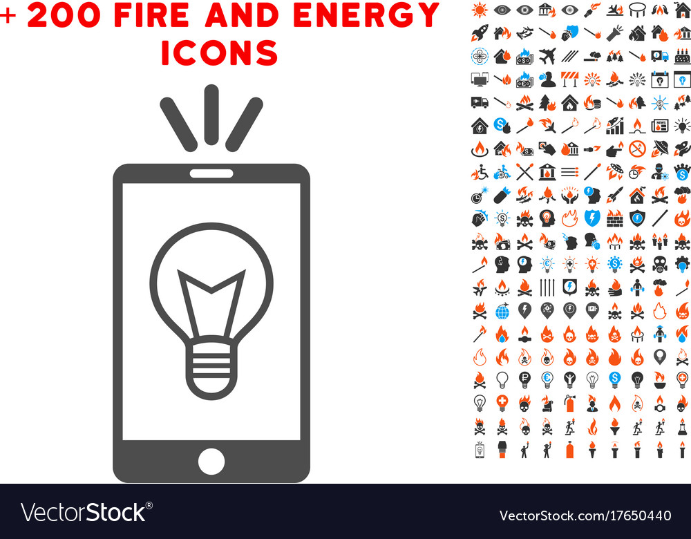 Mobile lamp light icon with bonus energy clipart.