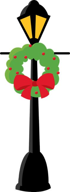 Christmas lamp post clipart.