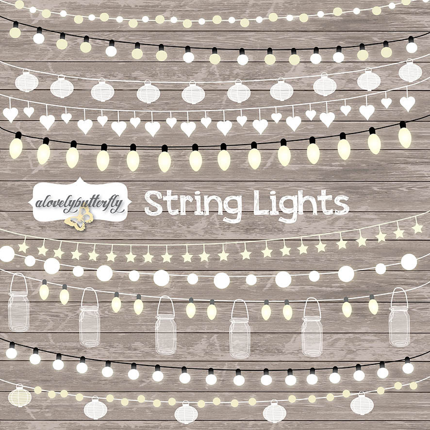 String Lights Clipart, wedding invitation, Clipart lights, Party.