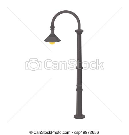 Lamppost with a conic bubble.Lamppost single icon in cartoon style vector  symbol stock illustration web..