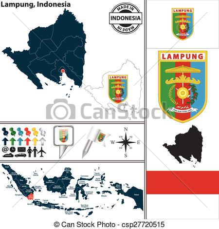 Vector Clip Art of Map of Lampung, Indonesia.