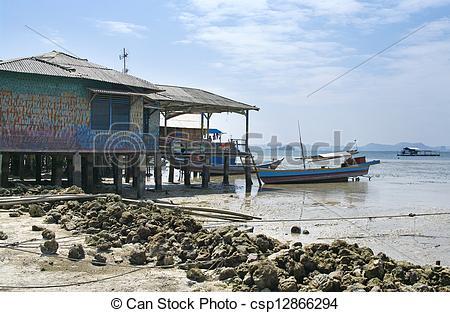 Stock Photographs of Fisherman's boat in Bandar Lampung, Sumatra.