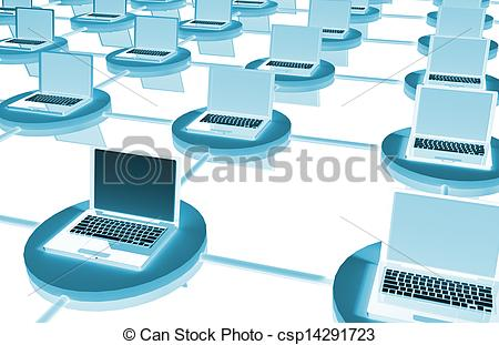Clip Art of LAN Computer System in 3D with Laptops csp14291723.