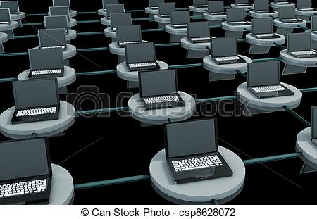 Clip Art of LAN Computer System in 3D with Laptops csp8628072.